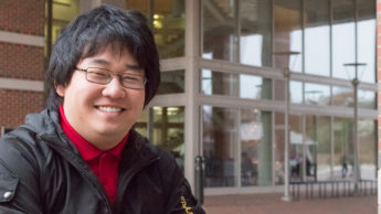 Photo of NC State Goodnight Scholar Timothy Chen of the class of 2019 at the Engineering Building II on Centennial Campus.