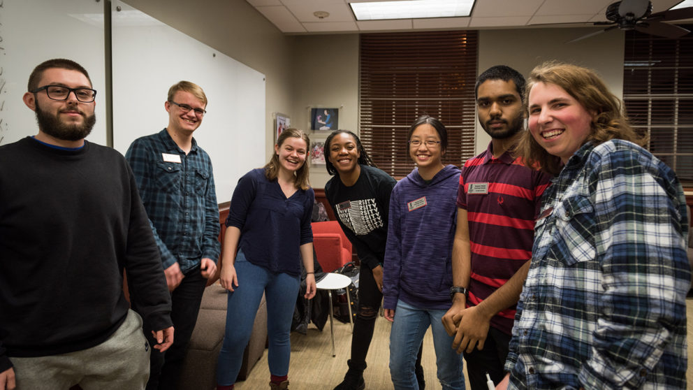 Group photo of NC State Goodnight Scholars participating in Major Madness competition at Peele Hall in Raleigh, North Carolina.