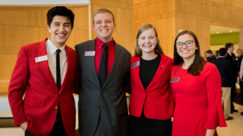 Group photo of NC State Goodnight Scholars volunteers at the Finalist Interview Day in February 2019.