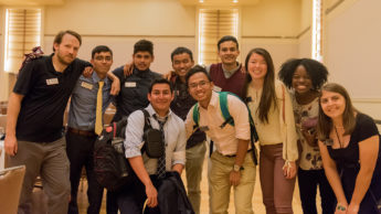 Group photo of NC State transfer Goodnight Scholars at the All Goodnight Meeting in August 2018 at Talley Student Union Ballroom.
