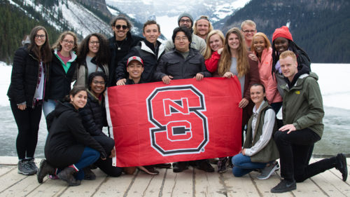 Group photo of NC State Goodnight Scholars in front of Lake Louise during Mayventure Vancouver trip in May 2019.