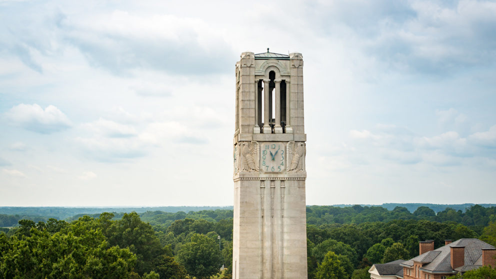Photograph of NC State University Belltower during the day in Raleigh, North Carolina.