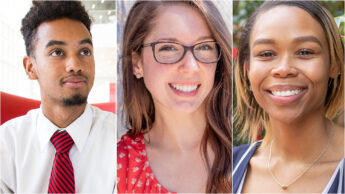 Collage of portrait photographs of NC State Goodnight Scholars TJ Adams, Rachel Bland, and Erika Debnam of the Class of 2020.