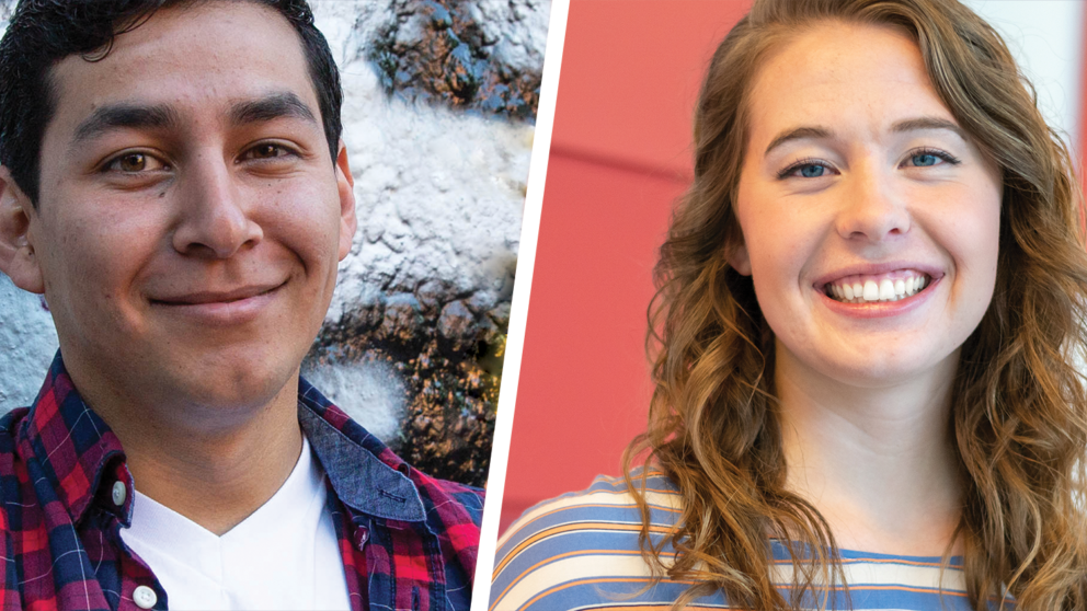 Portrait photographs of NC State Goodnight Scholars and Distinguished Goodnight Award recipients for 2020, Oscar Molina of the Transfer Class of 2019 and Gracie Hornsby of the Class of 2020.