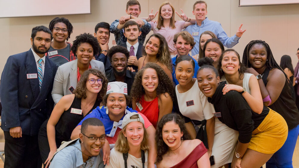 Group photo of the Goodnight Scholars Class of 2020 at the All Goodnight Meeting on August 2019 in the Talley Student Union Ballroom.