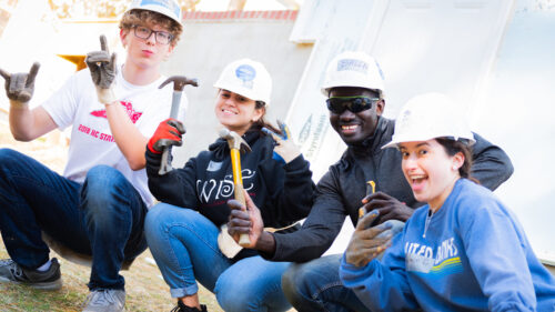 Photo of Goodnight Scholars volunteering at the Habitat for Humanity Build Day in Raleigh, North Carolina.